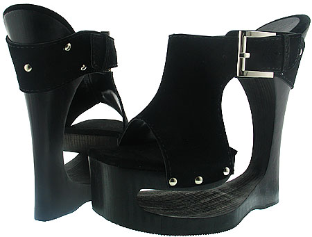 Adelina Wedge - Black Suede