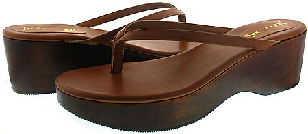 Lisa Wedge - Brown Leather