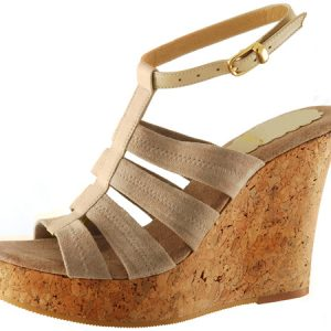 Perla Wedge w/Ankle Strap - Beige Suede