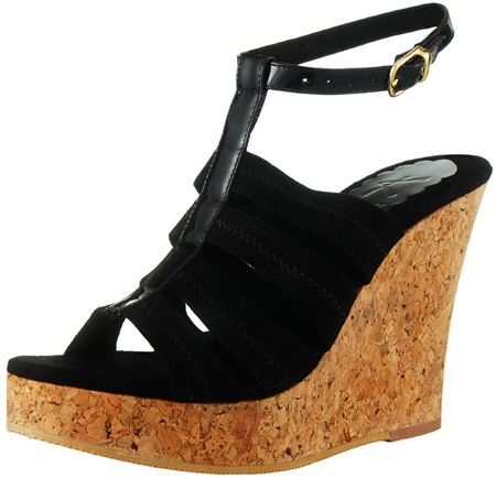 Perla Wedge w/Ankle Strap - Black Suede