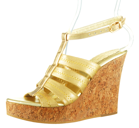 Perla Wedge w/Ankle Strap - Gold