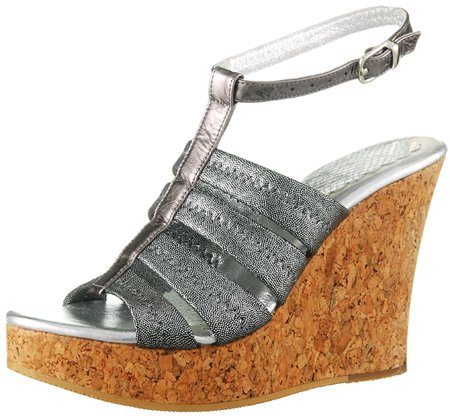 Perla Wedge w/Ankle Strap - Pewter