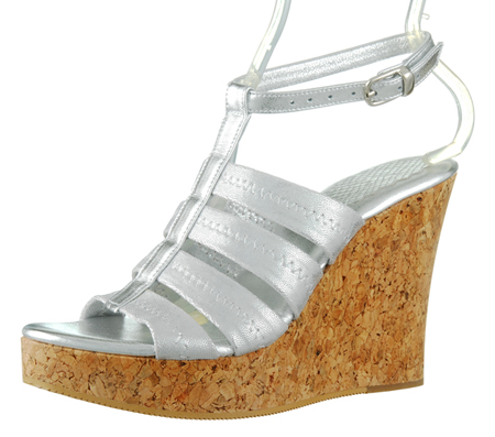 Perla Wedge w/Ankle Strap - Silver