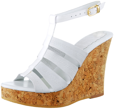Perla Wedge w/Ankle Strap - White