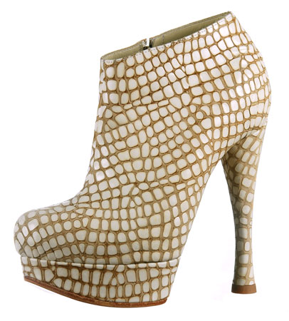 Coco Platform Ankle Boot - Bone Crocco Print