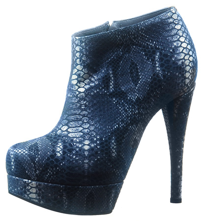 Coco Platform Ankle Boot - Gray Snake Print