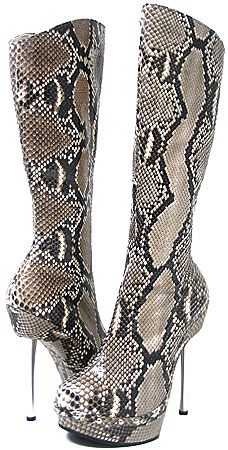 Ronda Heel Boot - Natural Python (Belly Cut)