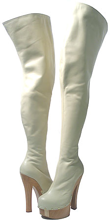 Ronda Thigh-High Boot - Bone Leather