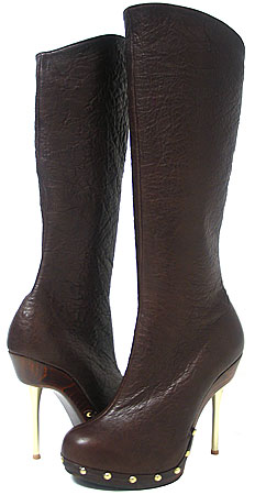 Ronda Boot Heel - Brown Wrinkled Leather
