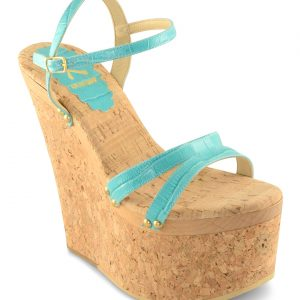 Candace Wedge - Turquoise Crocodile Print with Studs