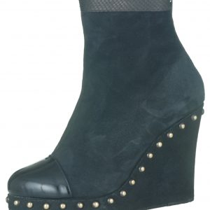Stephie Wedge Boot - Black Suede