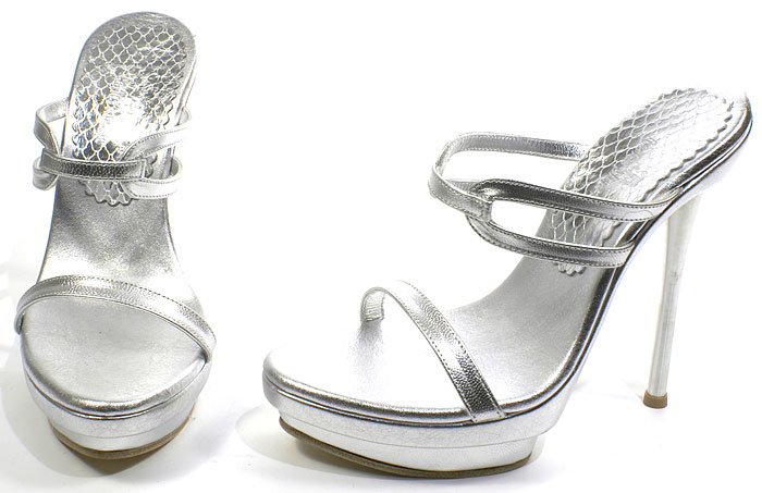 Edie Heel - Silver Leather