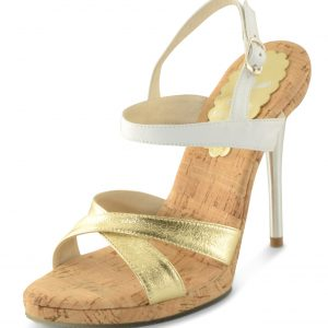Loren Heel - Gold / White Leather