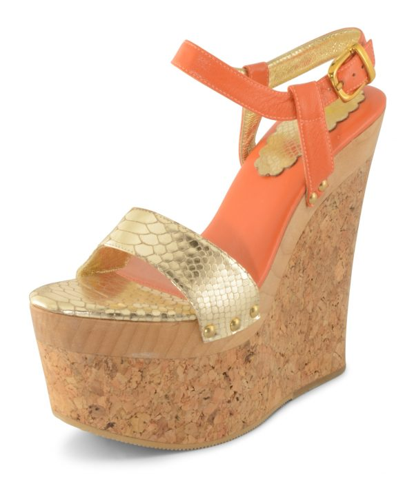 Megan Wedge - Orange / Gold