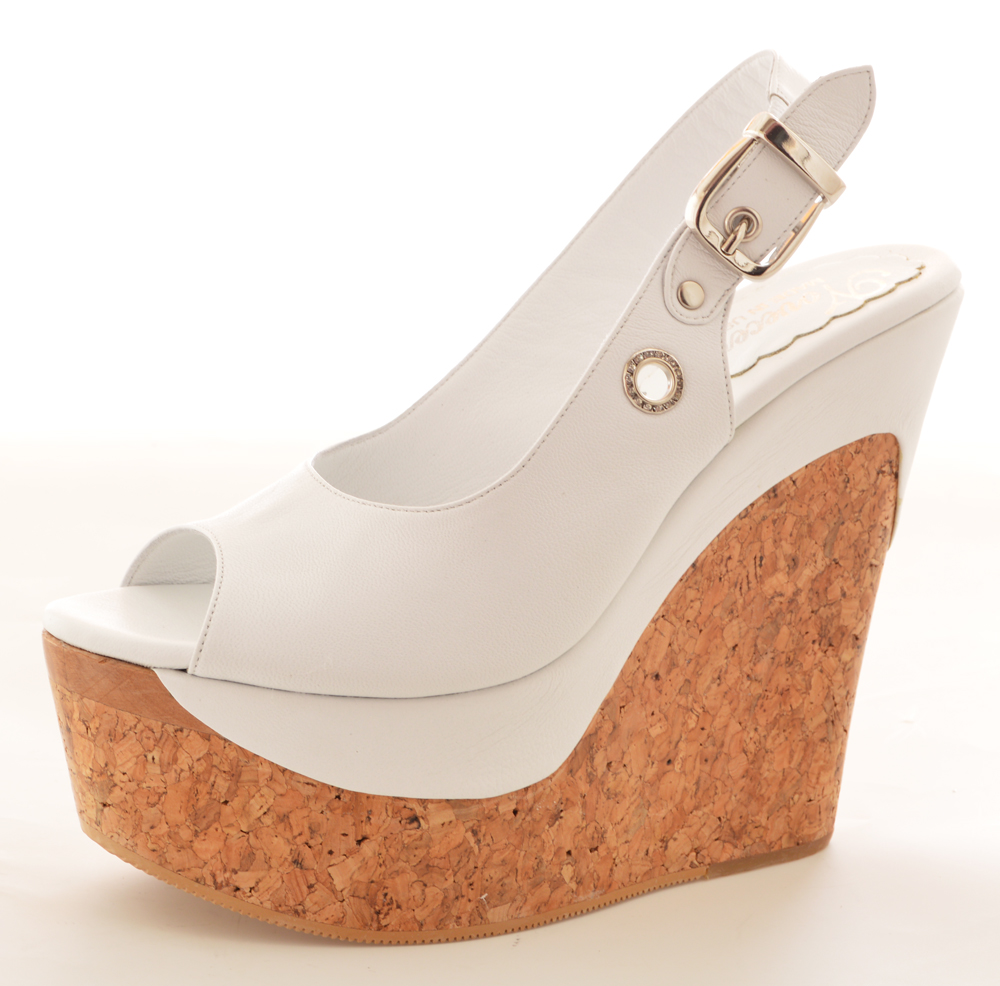Paige Wedge - White Leather