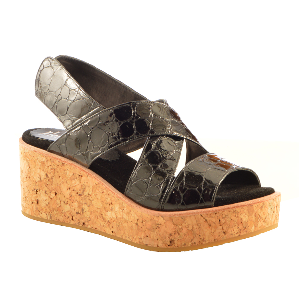 Krissy Genuine Leather Wedge Sandal - Black Patent Crocodile Print