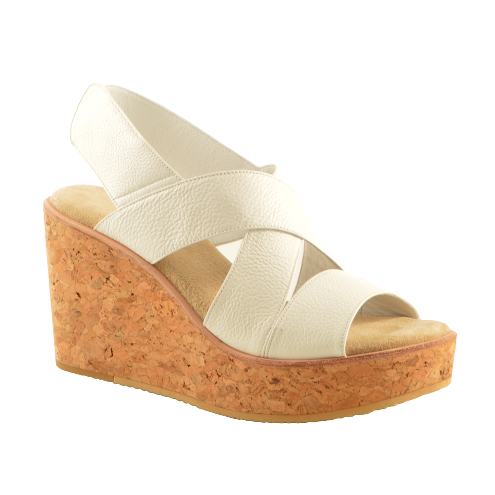 Krissy Sandal Wedge - White Leather